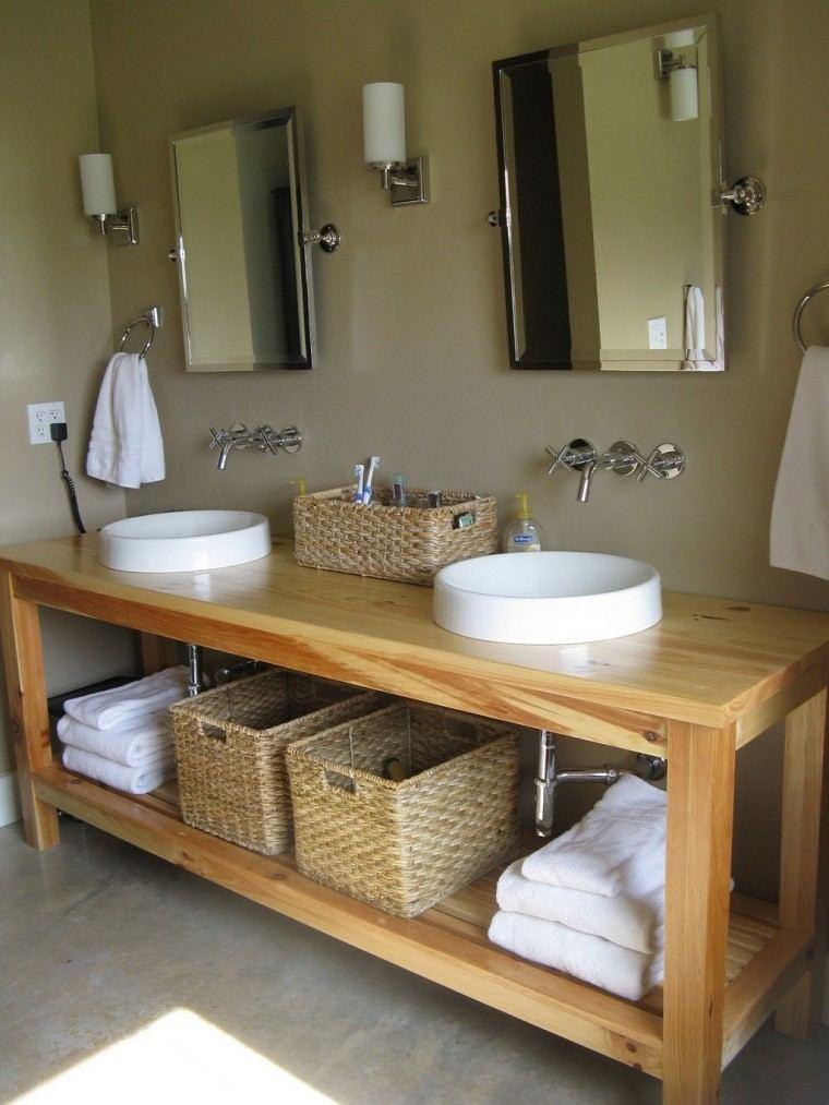 bano pequeno lavabo madera cestos decorativos ideas