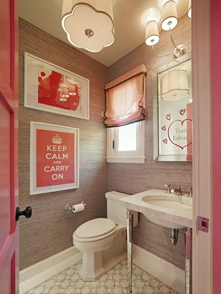 bano pequeno ninos colores rosa ideas