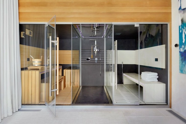 bano sauna madera casa piscina ideas