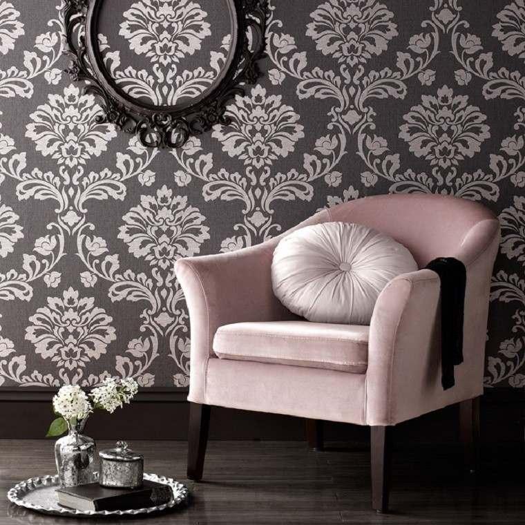 barroco papel pared butaca rosa ideas
