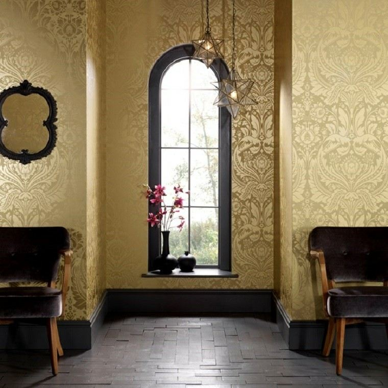 barroco papel pared color oro llamativo lujoso ideas