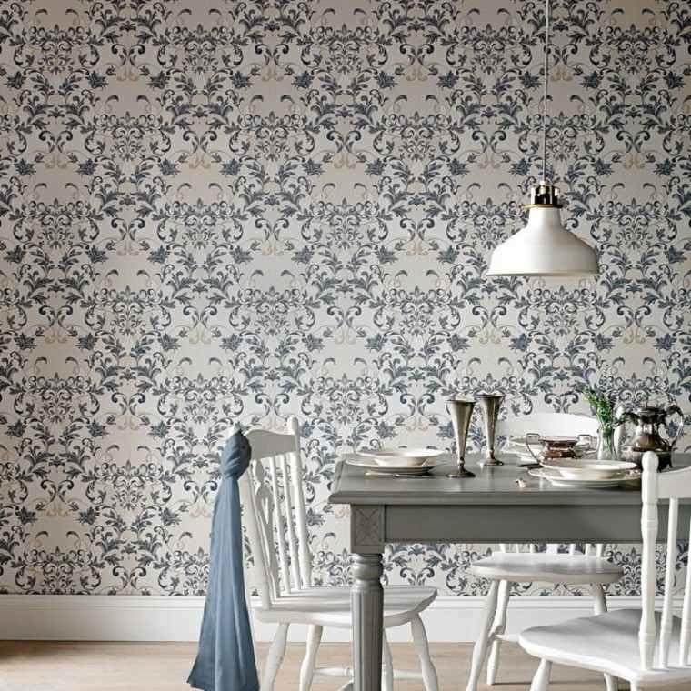 barroco papel pared comedor sillas madera ideas