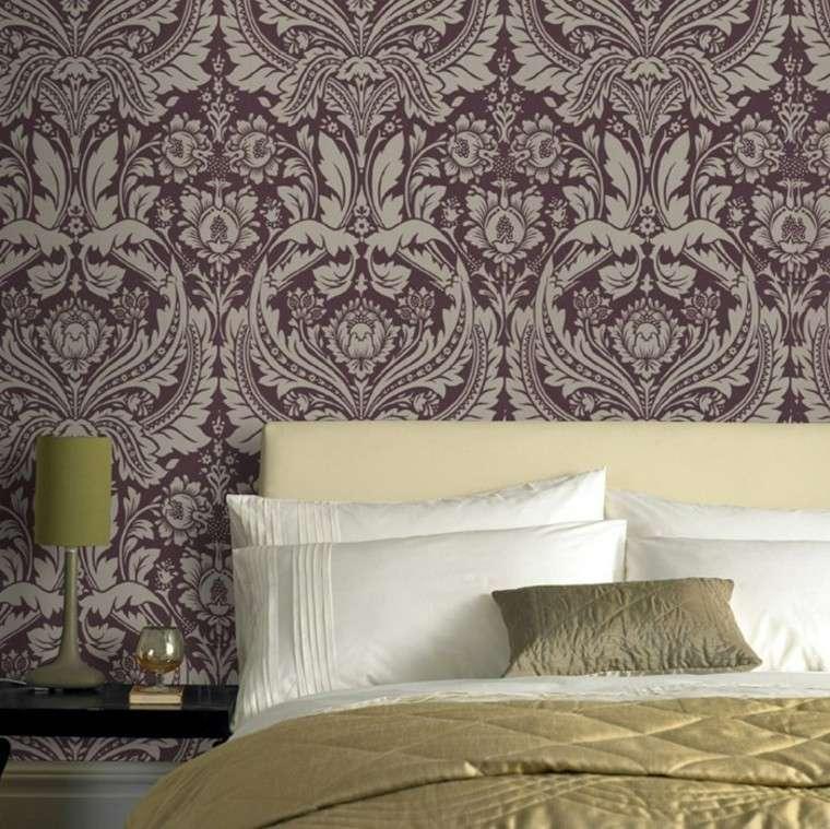 barroco papel pared dormitorio cama grande ideas