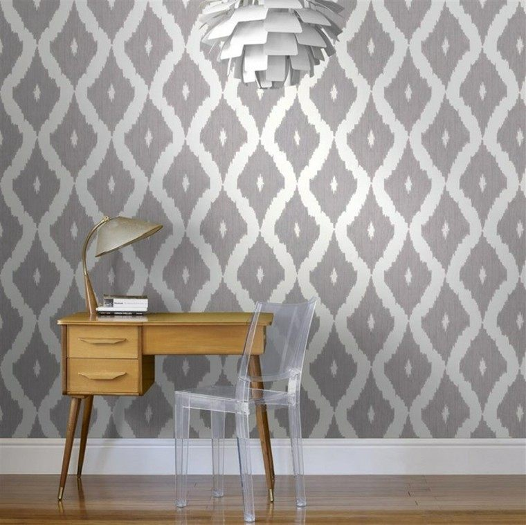 barroco papel pared lampara blanca silla plastico ideas