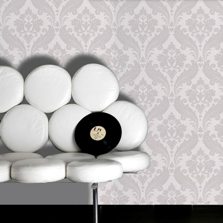 barroco papel pared sofa blanca diseno ideas