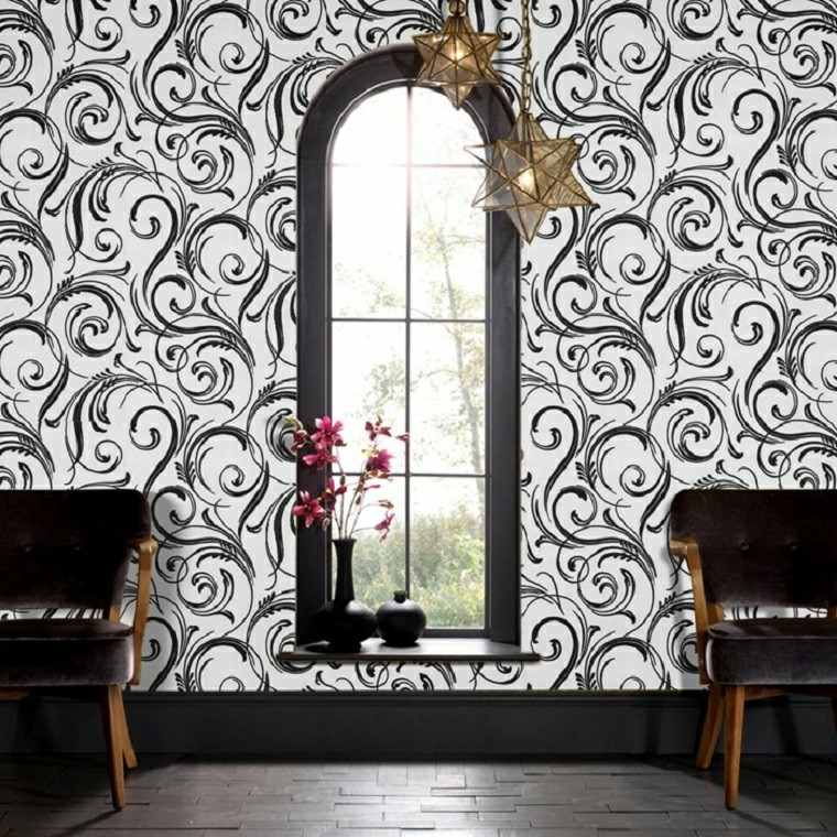 blanco negro papel pared sillones lamparas estrella ideas