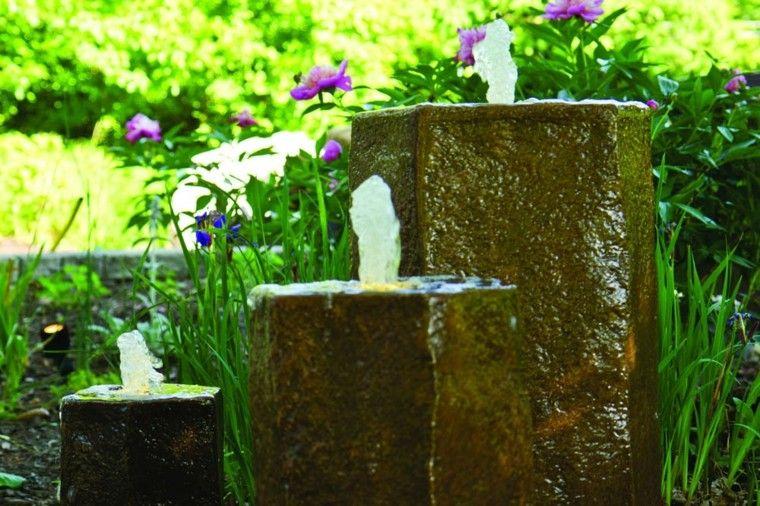 bloques piedra fuentes agua modernas