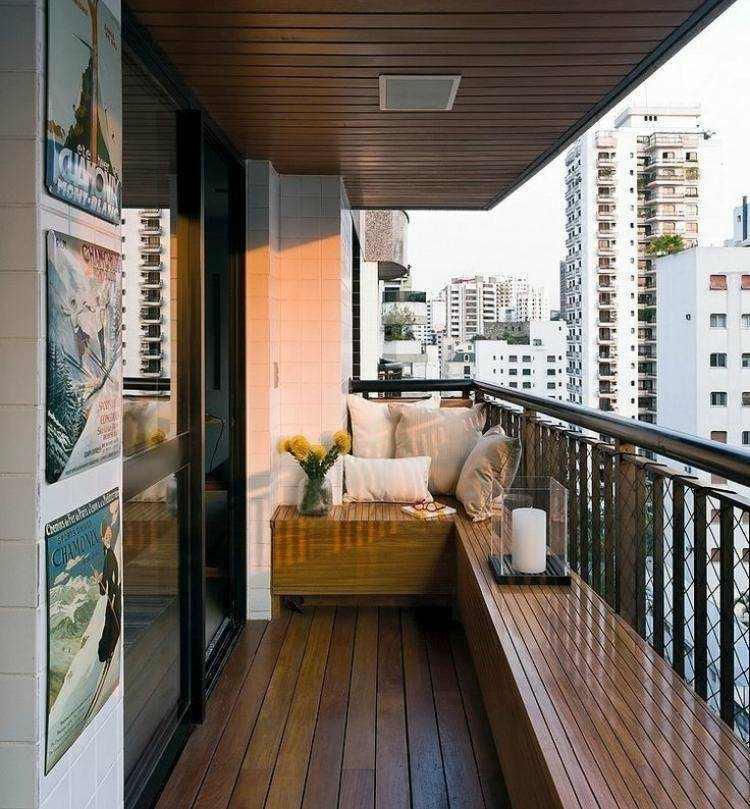 bonita terraza banco madera natural