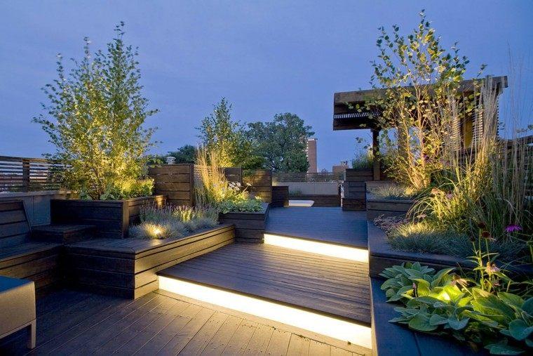 bonita terraza luces atardecer diseño