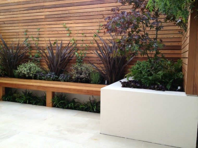 bonita terraza madera banco teca