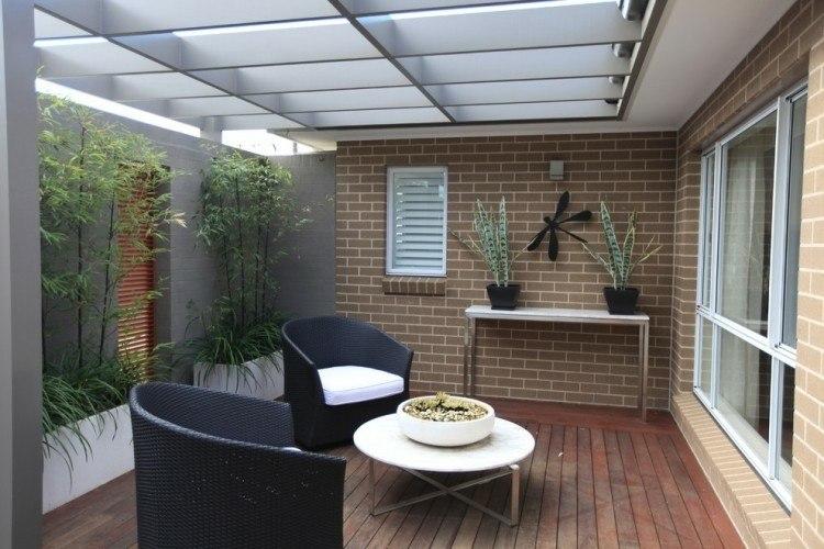 bonita terraza moderna bambu muebles