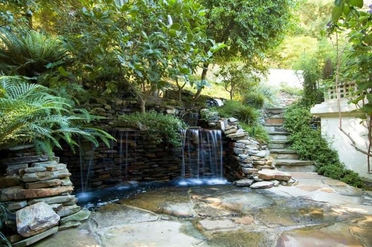 bonitas cascadas piedra jardin escaleras
