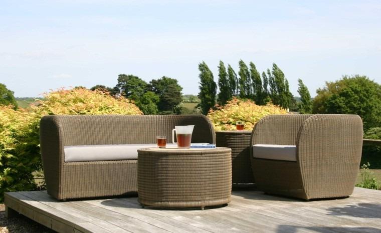 bonito conjunto muebles jardin mimbre