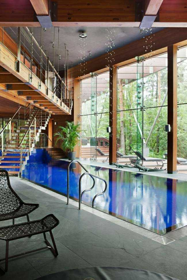 bonito diseño piscina cubierta moderna