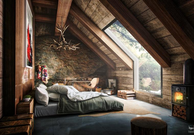 bonito dormitorio estilo rustico madera