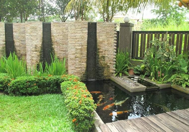 bonito jardin moderno estanque koi