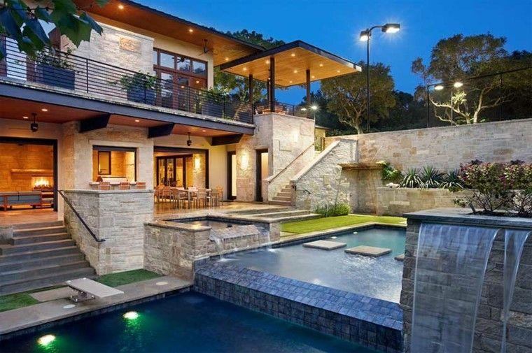 bonito jardin estilo moderno cataratas
