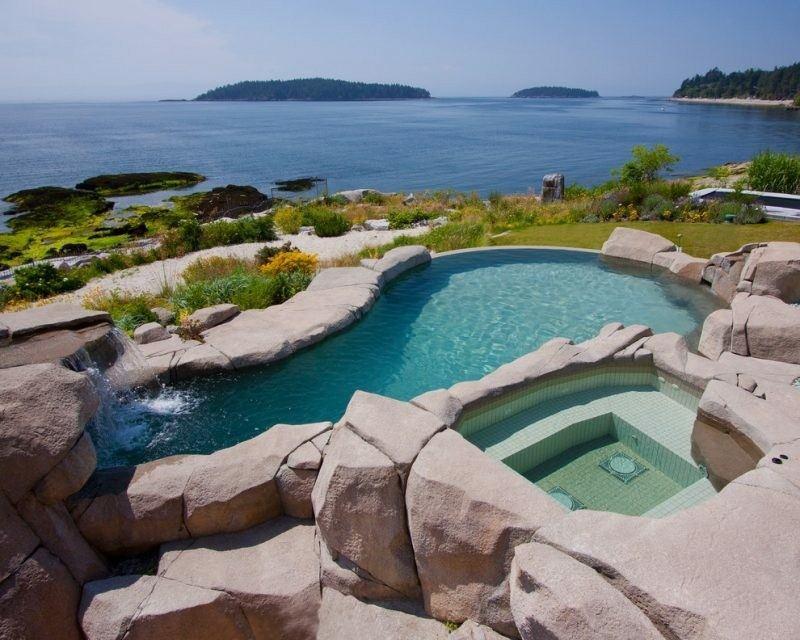 terraza con piscina y jacuzzi exterior