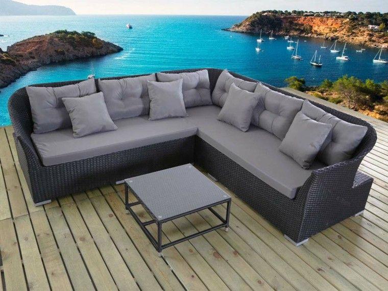bonito sofa esquina rattan gris