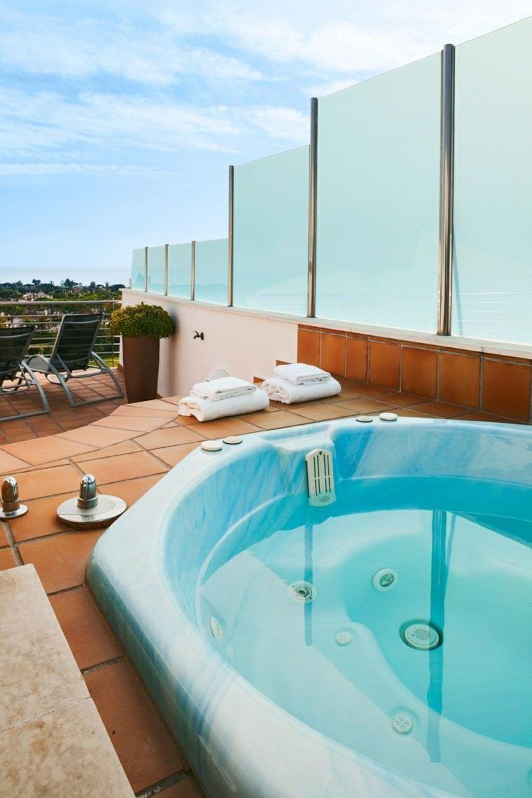 burbujas jacuzzi terraza valla laminas cristal ideas