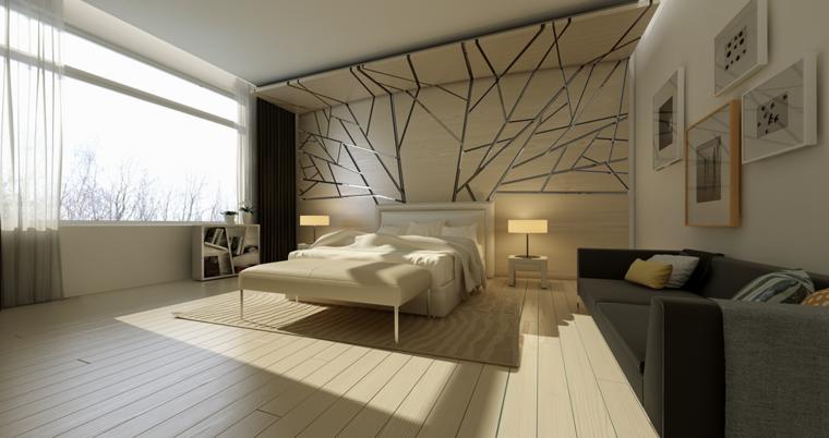 cabecero cama madera formas metal