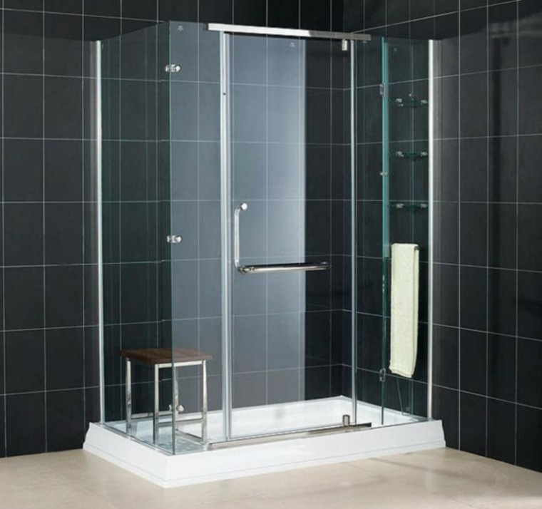 cabina ducha cristal azulejos negros