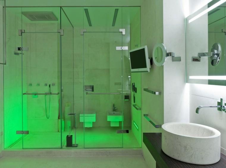 cabinas ducha modernas luces verdes