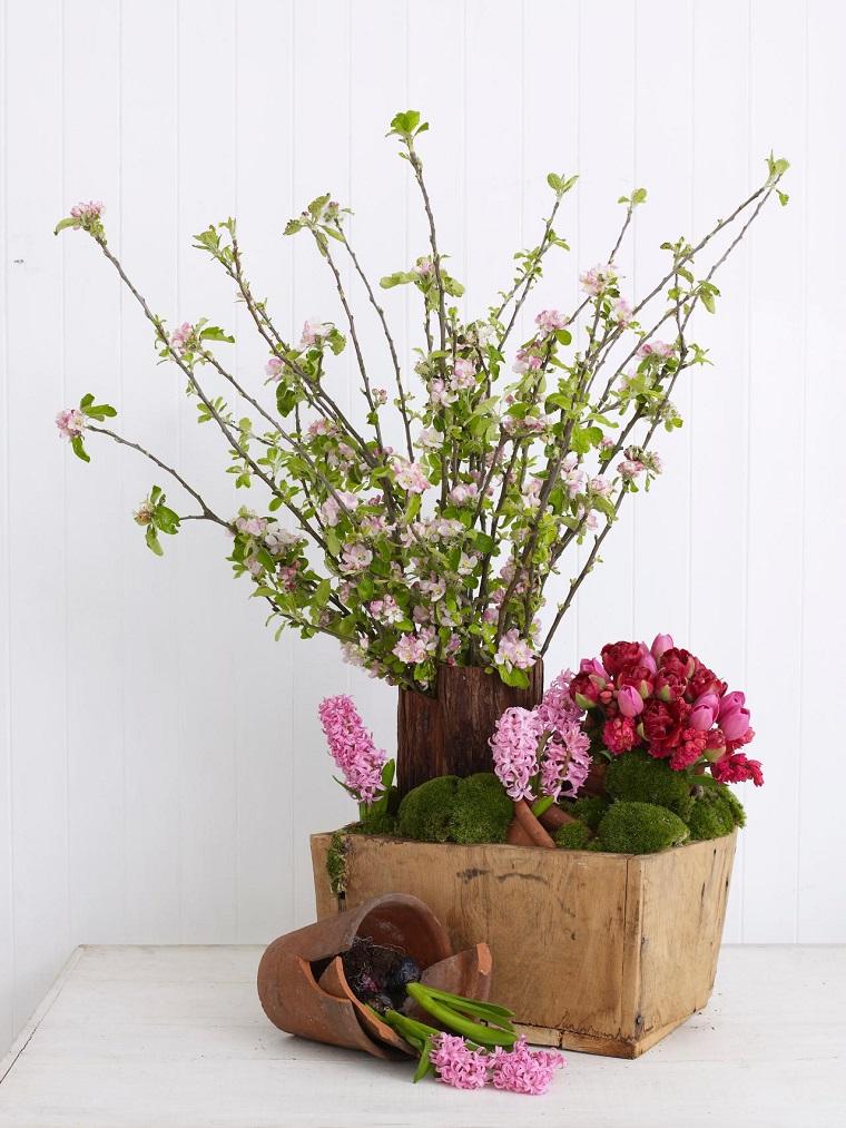 caja madera flores decorar casa ideas
