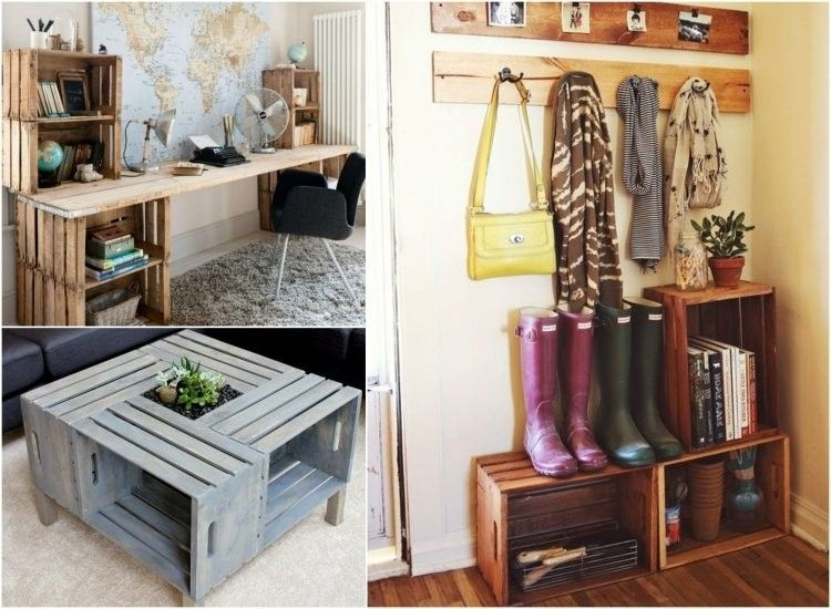 Decoracion de casas modernas 50 ideas creativas for Muebles con cajas de madera