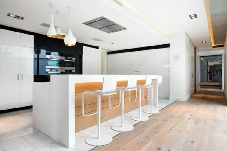calido diseño lamparas blancas banquetas