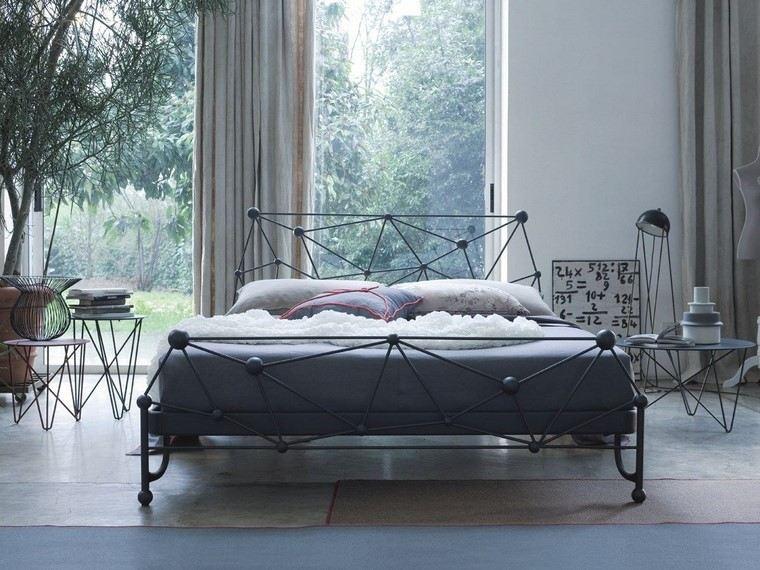 cama acero mesita noche acero dormitorio moderno ideas