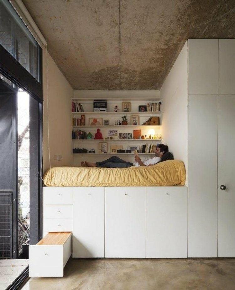 cama alta mueble estilo industrial