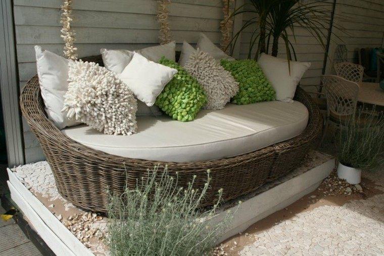 cama canape redondo jardin rattan