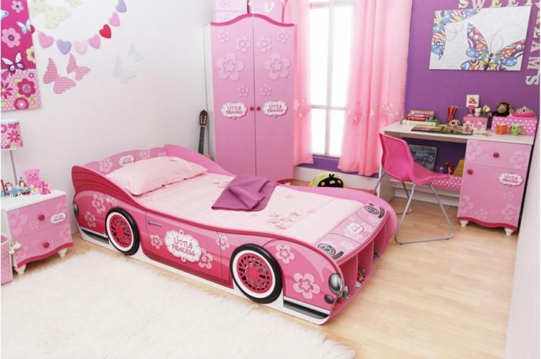 cama coche rosa armario habitacion ideas