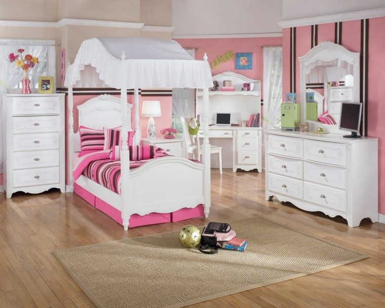 cama dosel habitacion chica madera blanca ideas