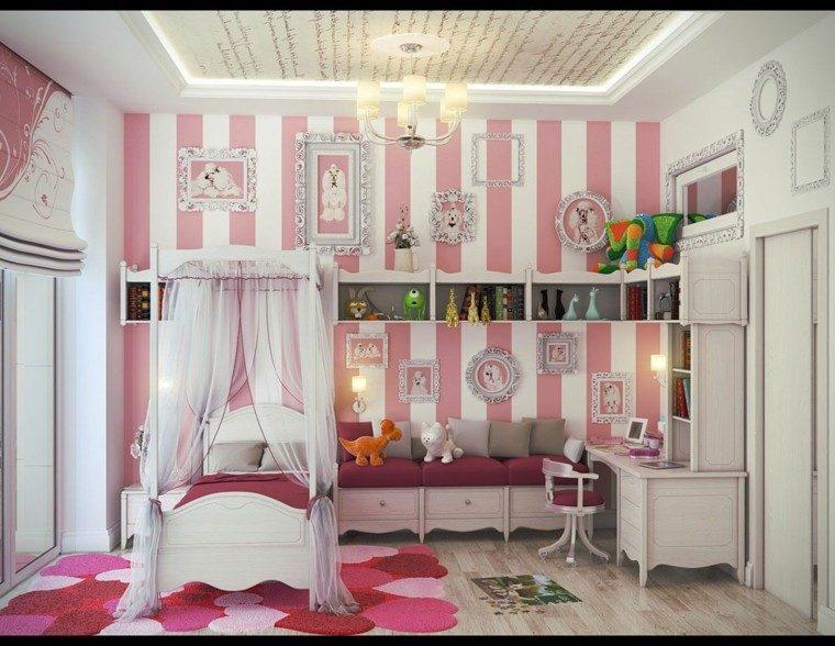 cama dosel habitacion nina alfombra ideas