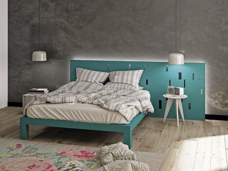 cama madera azul alfombra preciosa dormitorio ideas