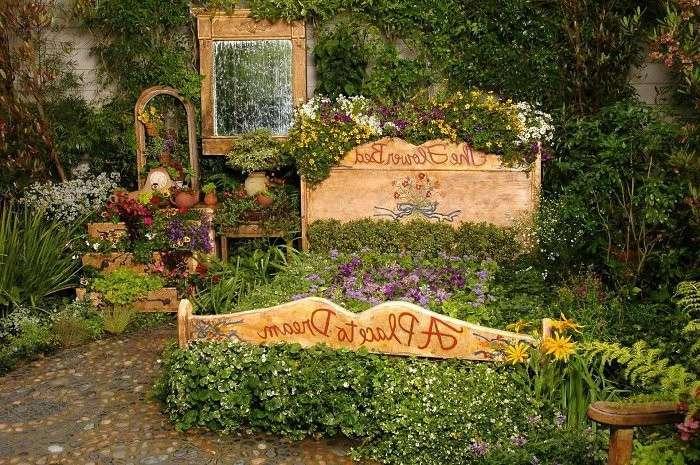 cama vieja madera jardinera plantas