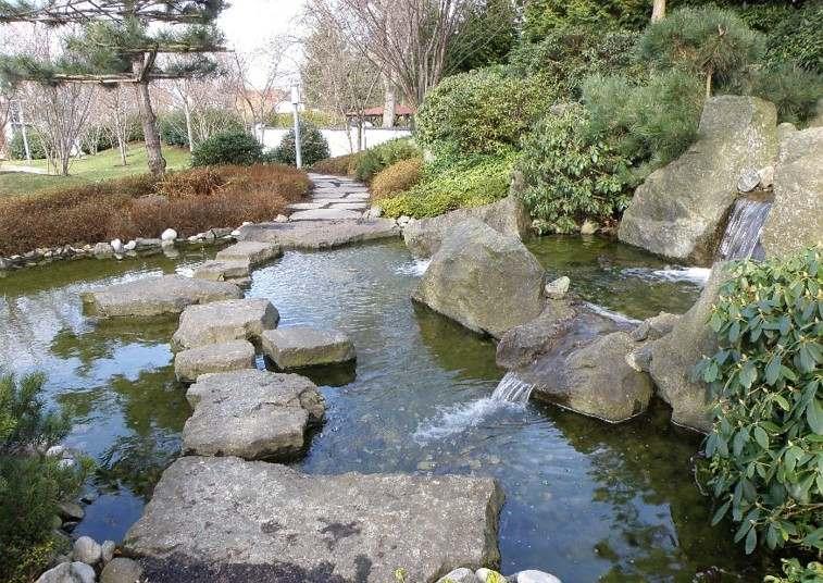 camino piedras rocas estanque natural