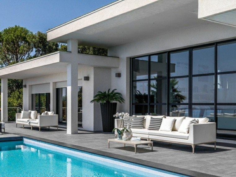 canapés sofa blancos jardin piscina amplio ideas