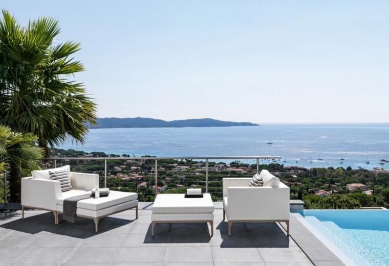 canapes sillones blancos terraza vistas preciosa ideas
