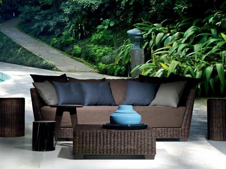 canapés sofa jardin colores oscuros elegantes ideas