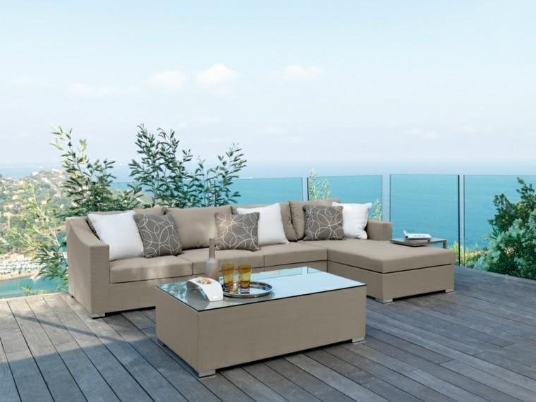 canapes mesa encimera cristal terraza suelo madera ideas