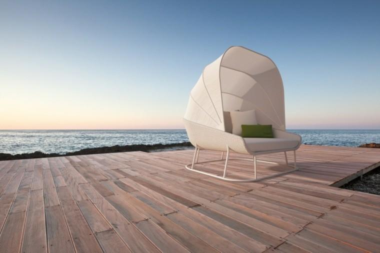 canapés sillones proteccion sol terraza jardin blanco ideas