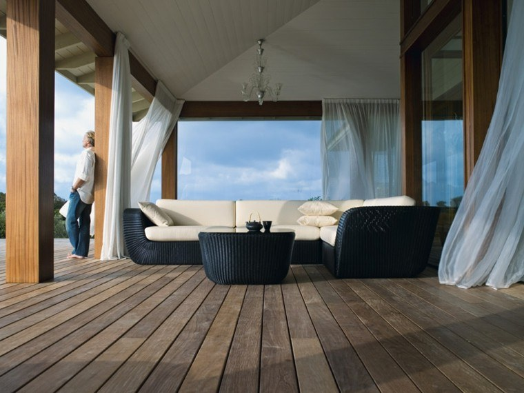 canapés rattan sofa negro terraza pergola ideas