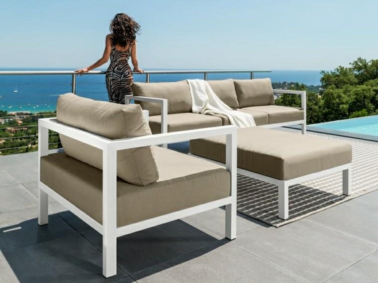 canapés sillones terraza color beige mesa ideas