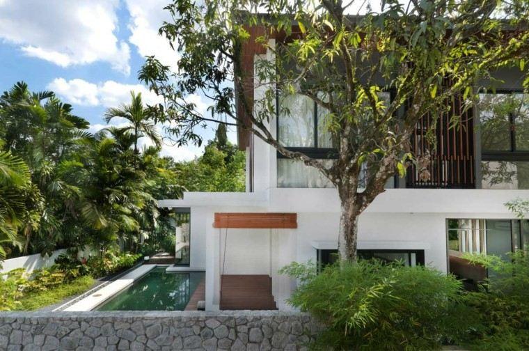 casa moderna diseño arboles piscina