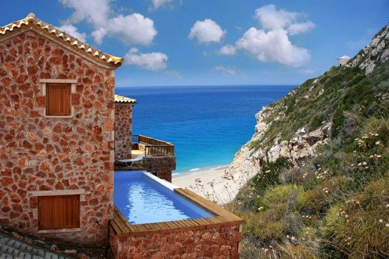 Piscina en el jard n 75 ideas para refrescar el verano for Planos de piscinas pequenas