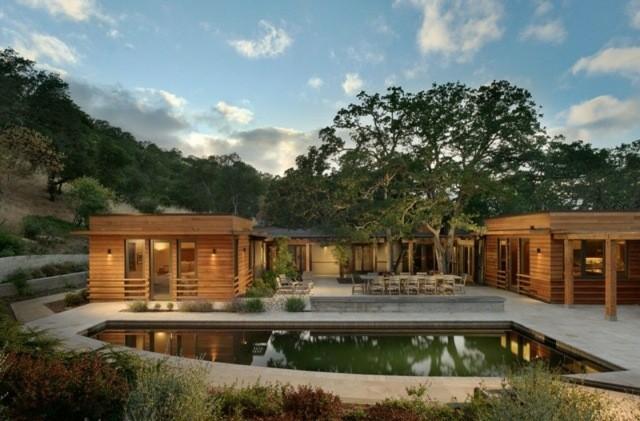 casas madera diseño moderno jardin