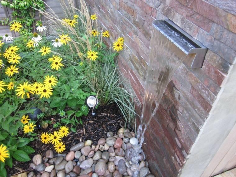 fuente de cascada de estilo minimalista cascada estilo minimalista flores amarillas